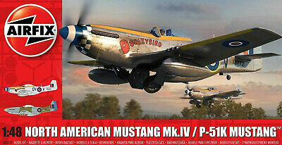 Airfix North American Mustang Mk.IV/P-51K Mustang 1:48 Scale Model Plane A05137 for sale  Mineola