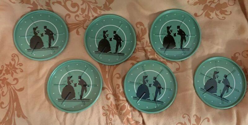 """Vintage Jadeite Green & Black Metal Coasters - Man & Women 3"""" Set Of 6"""