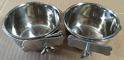"NEW Lot of 2 Bird Parrot Cage Stainless Steel Seed Water Feeder Cups--4"" **"