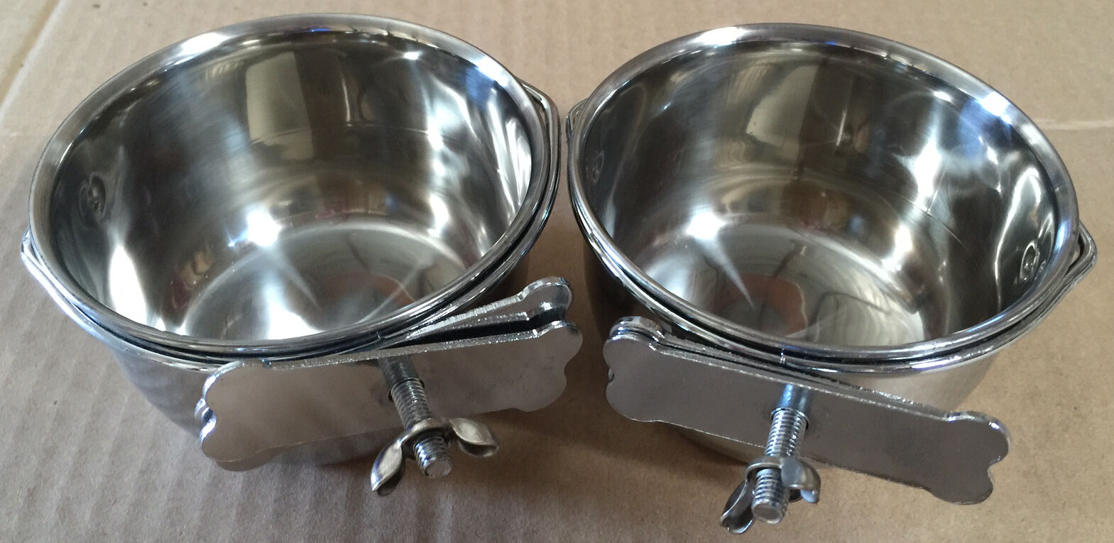 Lot of 2 Bird Parrot Cage Stainless Steel Seed Water Feeder