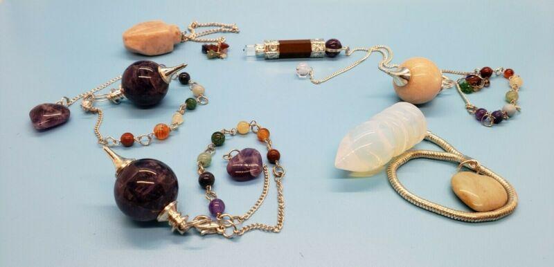 NICE Lot of 6 Healing, Reiki, Chakra, crystal mix pendulums: Amethyst, Opalite