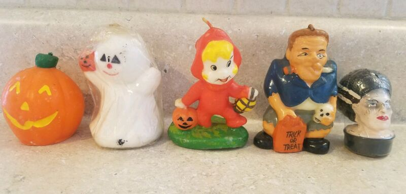 Lot of 5 Vintage Halloween Shaped Candles, The Bride, Casper, Gurley?, Unused