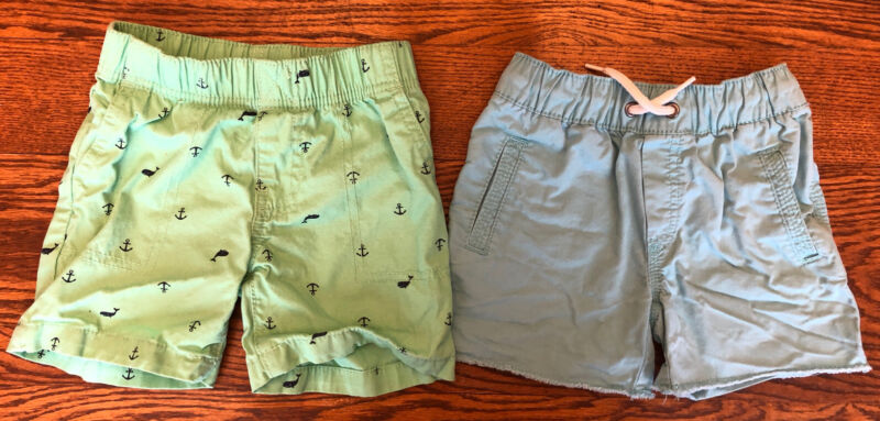 LOT 2T Toddler boys Dressy Shorts Carters & OshKosh mint & blue Whales Anchors