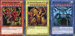 YuGiOh Legendary Collection Set of 3 Egyptian God Cards Slifer, Obelisk, Ra LC01
