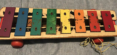 Vintage 1964 Fisher-Price Pull-A-Tune #870 Xylophone Pull Toy Wood & Metal