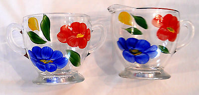 GAY FAD Sugar & Creamer SET Hand Painted Collectible Country Kitchen Mid (Kitchen Collection Glass Creamer)