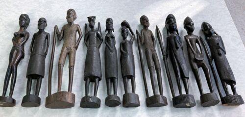 Ten Individual Hand carved African Tribal Art figures