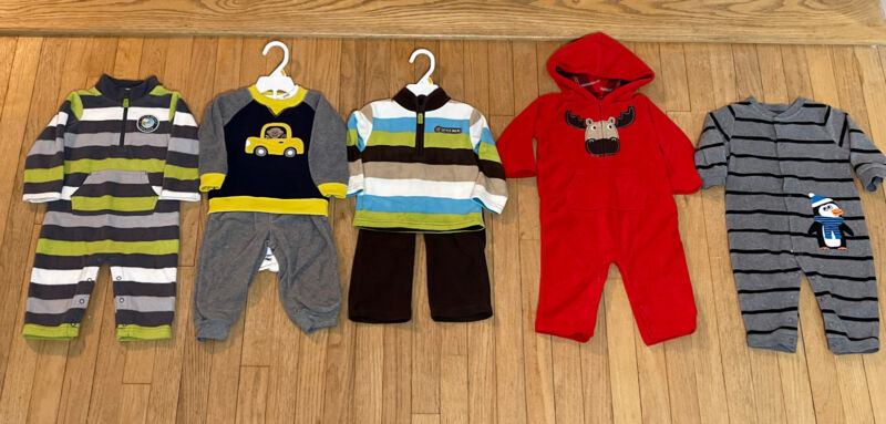 8 Piece Lot Of Carter's Infant Boys Fall/winter Clothes Size 12 Months