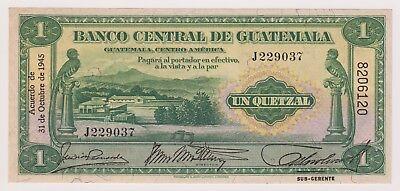 Guatemala Banco Central 1 Quetzal 1945 P14b XF AU Sub Type Bird Rare Signature