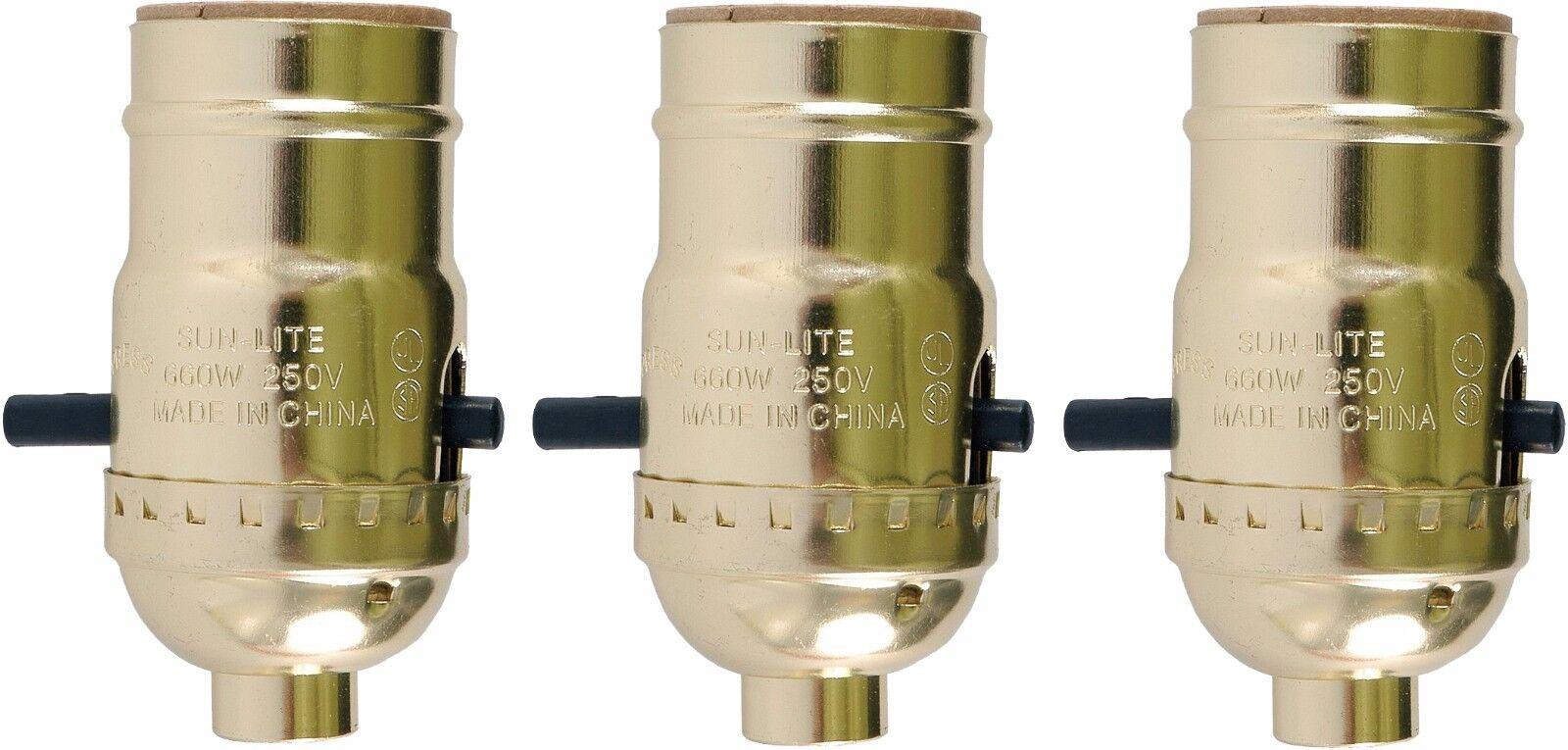 3 Pack of Push Thru On/Off Lamp Sockets Medium Base,Gold Shell, Lamp Repair Part Collectibles