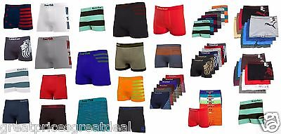 3 6 12 Lot Mens Microfiber Boxer Briefs Seamless Compression Wholesale One Size