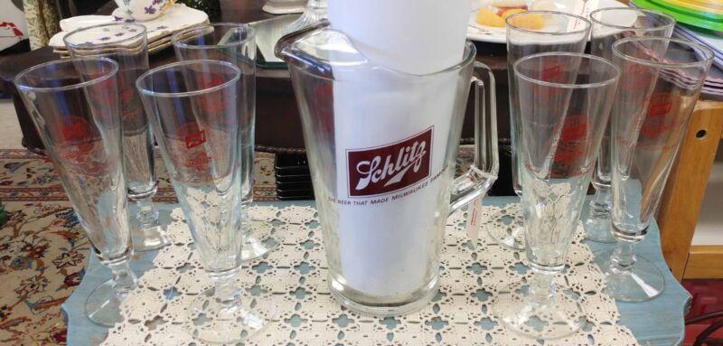 Schlitz Beer Pitcher & Glass Set