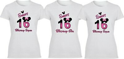 Sweet 16 Birthday Girl Minnie Mouse Disney Birthday Squad  T-Shirt - Sweet 16 Birthday Girl