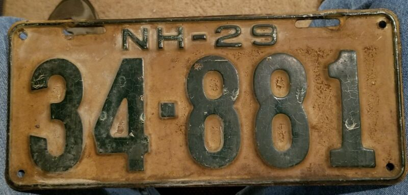 1929 New Hampshire License Plate