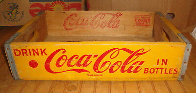Vintage 1962 Retro Yellow Chattanooga Coca Cola Coke Wood Crate Case PAMPA TEXAS
