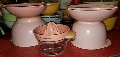 lot of 5 pink vintage plastic melmac bowls dishes juicer melmac kitchenaid