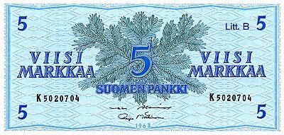 Finland … P-99 … 5 Markka … 1963 … *UNC*.