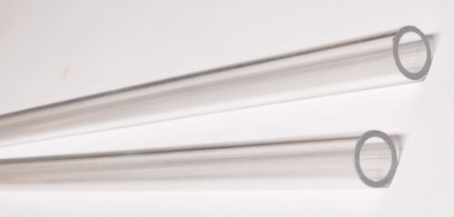 "2 pc 1/2"" OD 3/8"" ID DIAMETER 12"" LONG THIN WALL CLEAR ACRYLIC PLEXIGLASS TUBES"