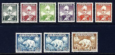 GREENLAND 1938-46 King Christian X, Polar Bears (1-9) . Mint Never Hinged