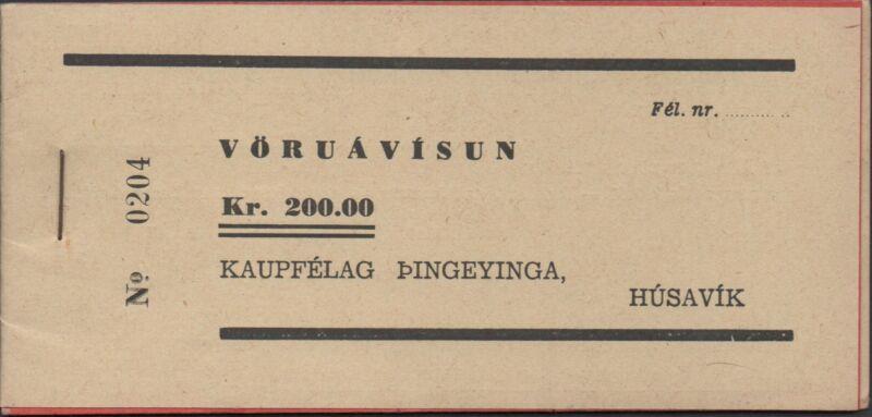 Iceland / Husavik 200 kronur  Nato Military Base Uncirculated Booklet  Rare