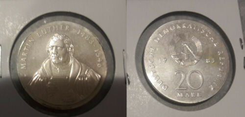 1983 DDR East Germany Large silver 20 Marks-Martin Luther-UNC