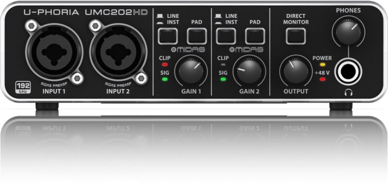 Behringer UMC202HD USB Computer Interface w/ Midas Preamps -