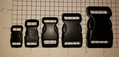"""Curved Side Release Plastic Buckle Contoured 3/8"""" 1/2"""" 5/8"""" 3/4"""" 1"""" Free Ship"""