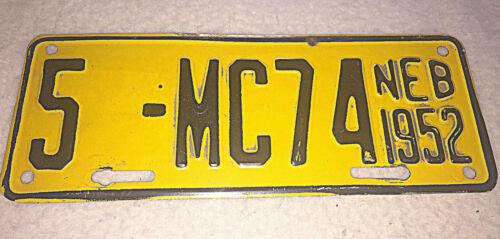 1952 Nebraska Motorcycle License Plate #5-MC74 Vintage