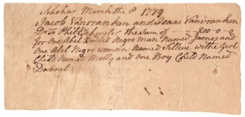 Important 1779 Document Re/ Family Of Slaves Who Served Alexander Hamilton