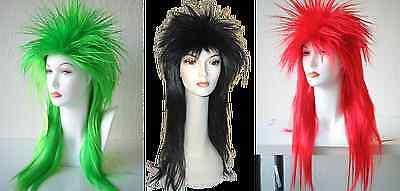 PUNK ROCKER POP SPIKY SPIKE EMO 1980S 80'S ELVIRA COSTUME WIG BLACK GREEN LONG](1980s Wigs)