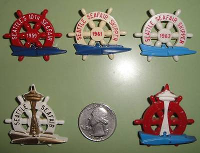 1959 61 62 63 Seattle Seafair Skipper Hydroplane APBA Gold Cup Regatta Pins Set on Rummage