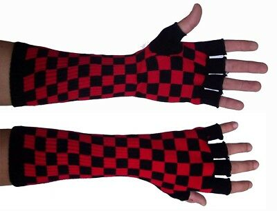 Ärmel Handschuhe lang Fingerless elastisch Schach rot und schwarze