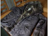 FCUK men's fur-lined hooded winter coat