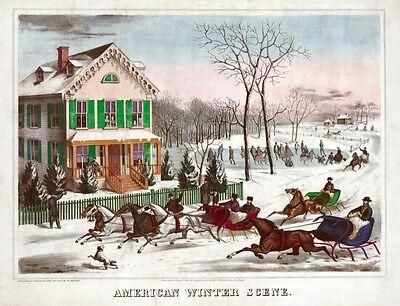 4108.American Winter Scene.Horses running in snow.POSTER.Home School art - Winter School Decorations