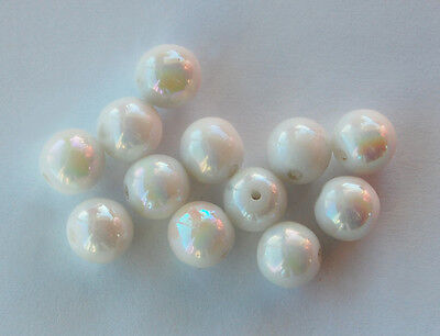 VINTAGE 12 WESTERN GERMANY SMOOTH GLASS BEADS WHITE AB AURORA 9mm