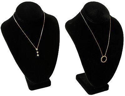2 Black Velvet Necklace Bust Jewelry Displays 7 12