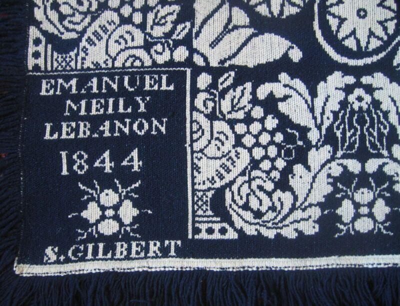 JACQUARD WOVEN COVERLET ~ SIGNED MEILEY 1844 ~ LEBANON PENN ~ X COND