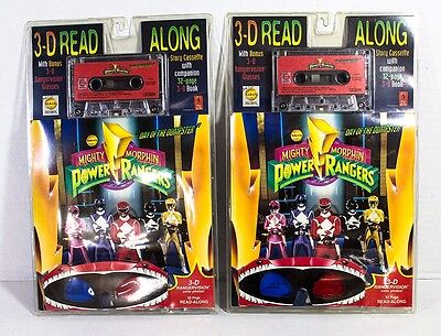 (2) 1994 Mighty Morphin Power Rangers 3-D Read Along w/ 3-D Rangervision - Power Rangers Glasses