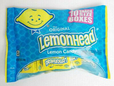The Original Lemonhead Lemon Candy 10 Snack Size Boxes NET WT 3.5oz
