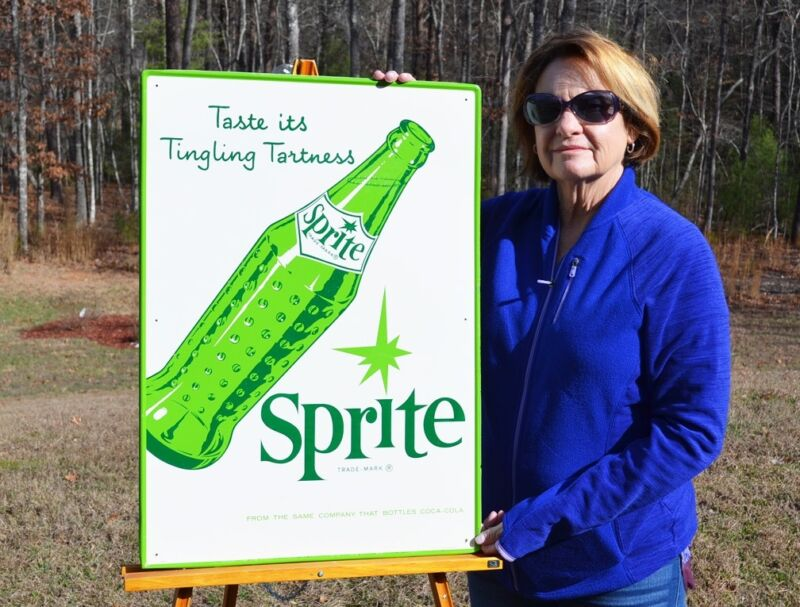 VINTAGE 60s COCA COLA SPRITE BOTTLE SIGN BEAUTIFUL COND DIFFICULT TO FIND SCARCE