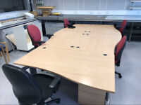 1400mm Right Waved Beech Office Desk