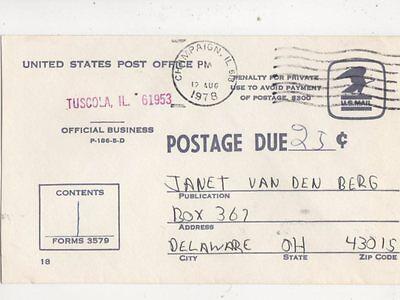 25c Postage Due 1978 USA Cover Champagin IL to Delaware OH 404b