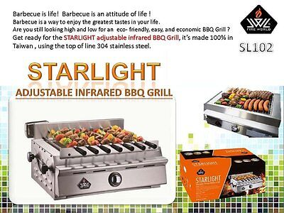 Portable Sl102 Starlight Adjustable Infrared Bbq Grill W  All Accessories Lp Ng