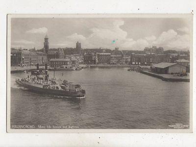 Helsingborg Motiv Fran Hamnen Med Angfarjan Sweden Vintage RP Postcard 617b