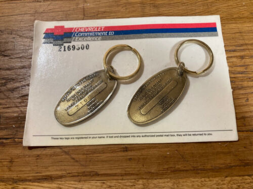 VINTAGE -Brass Chevrolet Key chain Fob COMMITMENT TO EXCELLENCE - Return Postage