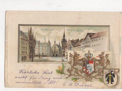 Muenchen Marienplatz Germany 1904 Embossed Chromo Litho Postcard 478a