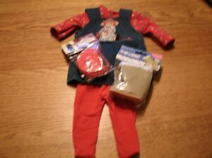 American-Girl-Doll-clothes-5pc-outfit-denim-jumper-purse-tshirt-stockings-boots
