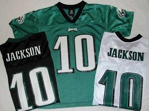 EAGLES-JACKSON-10-REEBOK-REPLICA-JERSEY-YOUTH-S-M-L-XL-WHITE-BLACK-GREEN-NWT