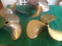 BOAT PROPELLERS X4 NEW (LARGE) BRASS / BRONZE
