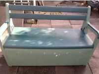 OUTSTANDING BY KETER, PLASTIC GARDEN BENCH WITH STORAGE, USED.